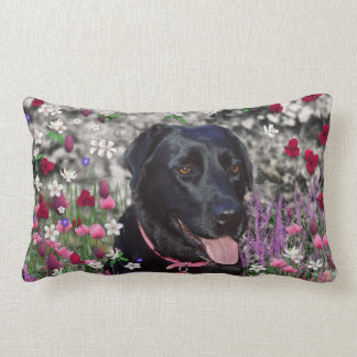 Abby in Flowers – Black Lab Dog Throw Pillow