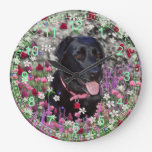 Abby in Flowers – Black Lab Dog Wallclocks