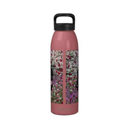 Abby in Flowers – Black Lab Dog Water Bottle