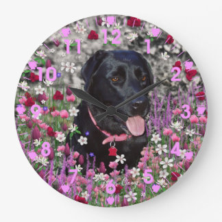 Abby in Flowers – Black Labrador Dog Large Clock