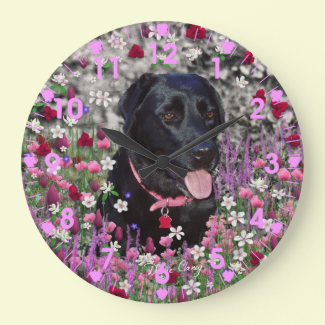 Abby in Flowers – Black Labrador Dog Wall Clocks
