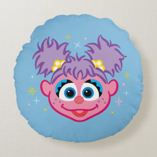 Abby Smiling Face Round Pillow