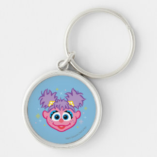 Abby Smiling Face Silver-Colored Round Keychain