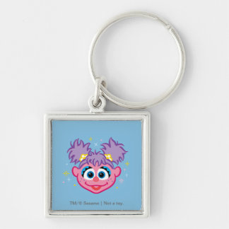 Abby Smiling Face Silver-Colored Square Keychain