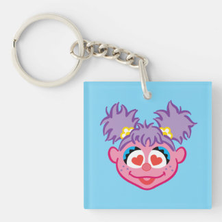 Abby Smiling Face with Heart-Shaped Eyes Double-Sided Square Acrylic Keychain
