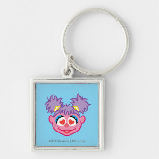 Abby Smiling Face with Heart-Shaped Eyes Silver-Colored Square Keychain