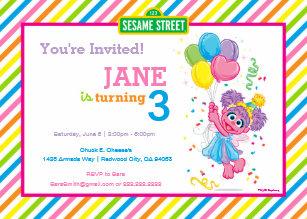 Abby Striped Birthday Invitation