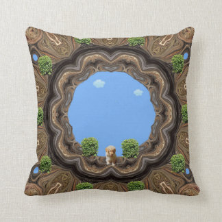 Abby's Courtyard With Puppy. Throw Pillow