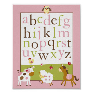 Abby's Farm Animal Alphabet Nursery Wall Art Print