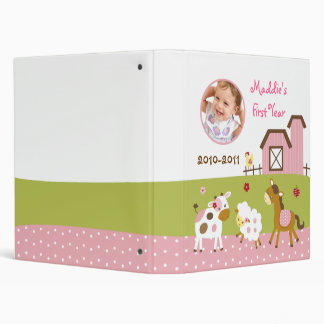 Abby's Farm Animal Baby Photo Album Scrapbook 3 Ring Binder