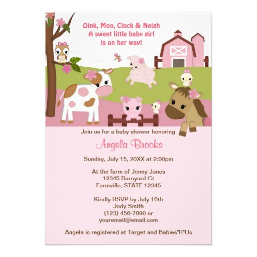 Abby's Farm Animal Baby Shower GIRL PINK AFC Personalized Invite