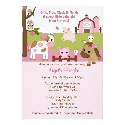 Abby's Farm Animal Girls Baby Shower GIRL PINK Card