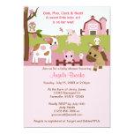 Abby's Farm Animal Girls Baby Shower GIRL PINK 5x7 Paper Invitation Card