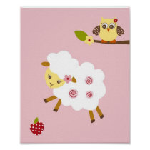 Abby's Farm Animal Girls Nursery Wall Art Print