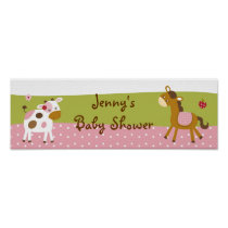 Abby's Farm Girl Farm Animal Baby Shower Banner Poster