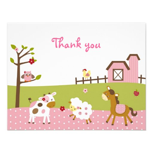 Abby's Farm Girl Farm Animal Thank You Note Cards Personalized Announcement