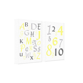 ABC 123 Alphabet Numbers Yellow Gray Kids Nursery Canvas Print