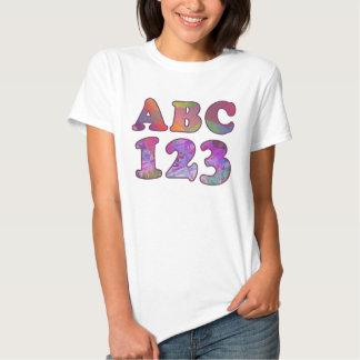ABC 123 DE NUEVO A LA CAMISETA DE LA ESCUELA POLERA