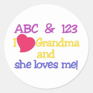 ABC & 123 I Grandma & She Loves Me! Classic Round Sticker