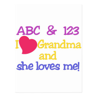 ABC & 123 I Grandma & She Loves Me! Postcard