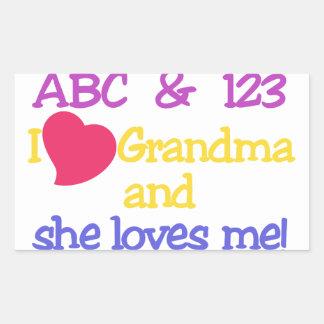 ABC & 123 I Grandma & She Loves Me! Rectangular Sticker