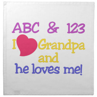 ABC & 123 I Grandpa & He Loves Me! Cloth Napkin