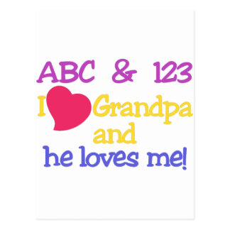 ABC & 123 I Grandpa & He Loves Me! Postcard