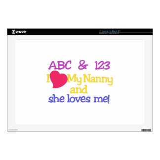 "ABC & 123 I My Nanny & She Loves Me! Decals For 17"" Laptops"