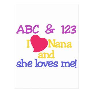 ABC & 123 I Nana And She Loves Me! Postcard