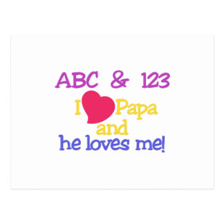 ABC & 123 I Papa & He Loves Me! Postcard