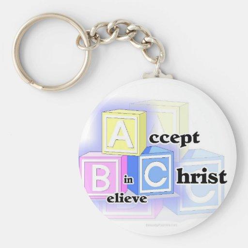 ABC acepta, cree en el diseño de Cristo Llavero Redondo Tipo Pin