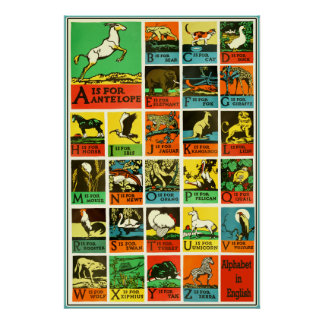 Abc Alphabet animal poster - Teaching Aid Chart