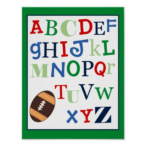 ABC Alphabet Art Print Football Sports Theme