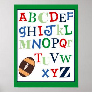 ABC Alphabet Art Print Football Sports Theme