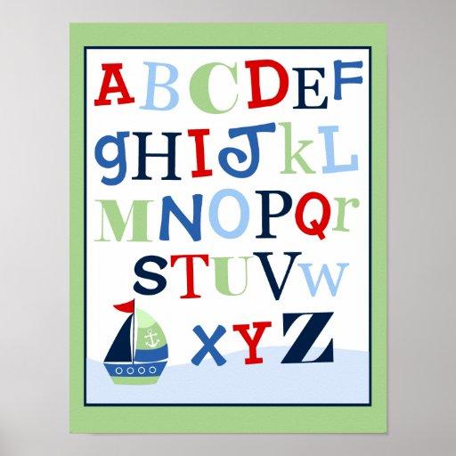 ABC Alphabet Art Print Little Skipper Sailboat