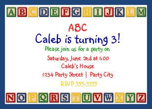Abc Invitations Zazzle