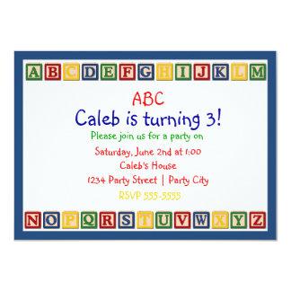 ABC Alphabet Blocks 1st Baby Birthday Invitation