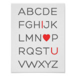 ABC Alphabet I Love You Poster