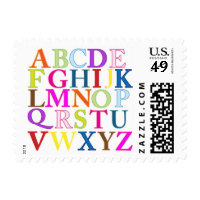ABC Alphabet Letters Kids School Postal Stamps