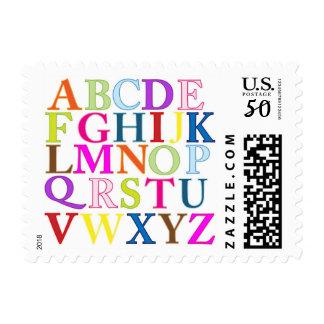 ABC Alphabet Letters Kids School Postal Stamps
