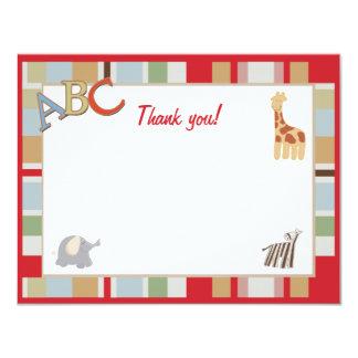 ABC Alphabet Soup Dot Jungle Thank you notes 4.25x5.5 Paper Invitation Card