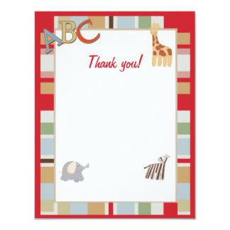 ABC Alphabet Soup Jungle Thank you notes Card