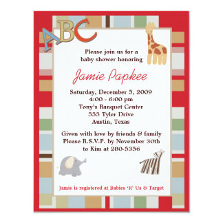 ABC Alphabet Soup Striped Baby Shower Invitation