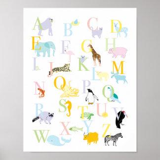 ABC animal en colores pastel imprime Póster