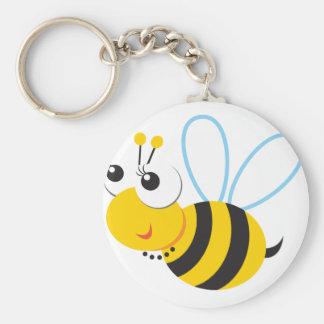 ABC Animals Betty Bee Basic Round Button Keychain
