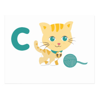ABC Animals - Carrie Cat Postcard