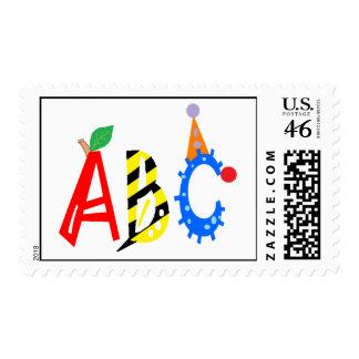 ABC Apple, abeja, sello del alfabeto del payaso