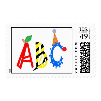 ABC Apple, Bee, Clown Alphabet Postage Stamp