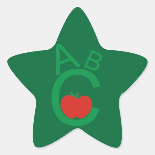 ABC Apple Calcomania Forma De Estrella Personalizada