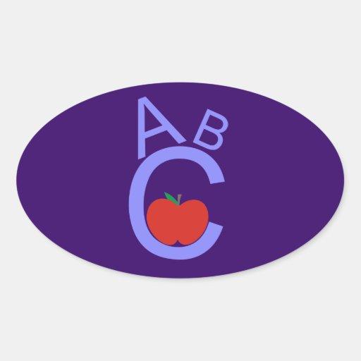 ABC Apple Calcomania Oval Personalizadas